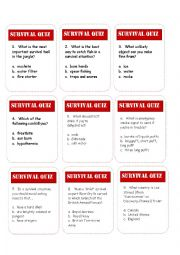 English Worksheet: Survival Trivia Game