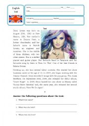 English Worksheet: Reading and comprehension about Demi Lovato