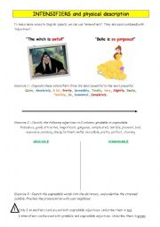 English Worksheet: INTENSIFIERS and physical description