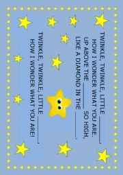 English Worksheet: TwinKle,twinkle little star