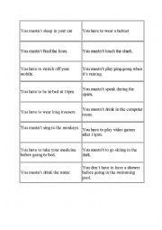 English Worksheet: Obligation Pictionary
