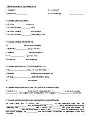English Worksheet: Modal Verbs (Obligation, Prohibition- Permission- Necessity)