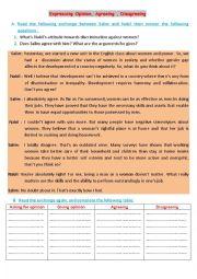 English Worksheet: Expressing opinion, agreeing, disagreeing
