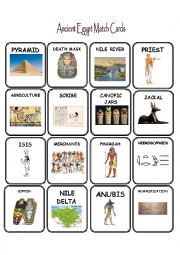 English Worksheet: Ancient Egypt Match Cards