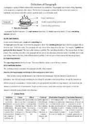 English Worksheet: The paragraph