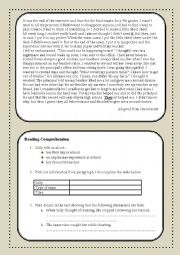 English Worksheet: Cheating on exams Reading Comprehension Test