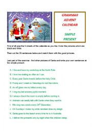 English Worksheet: Grammar Advent Calendar ; simple present