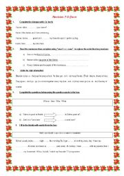 English Worksheet: revision 7 th form