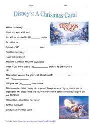 English Worksheet: Disney�s - A Christmas Carol -Trailer Gap Fill (2009 Movie)