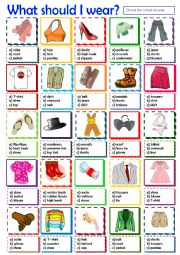 English Worksheet: What should I wear?