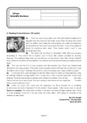 English Worksheet: full term test 1 3rd form Science students (Sfax 1 Unified test)