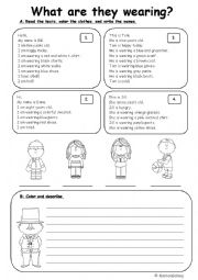 English Worksheet: clothes reading and writing practice