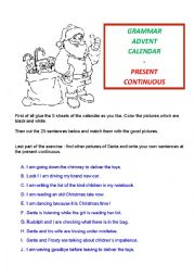 English Worksheet: grammar Advent Calendar : present continuous