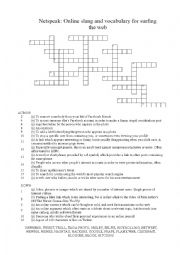 English Worksheet: Netspeak Crossword: Online slang and vocabulary for surfing the web