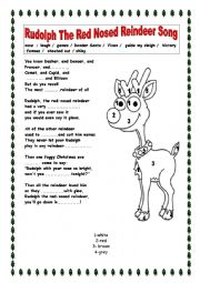 English Worksheet: Rudolph The Red Nosed Reindeer Song