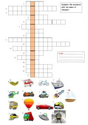 Means of transport- crossword