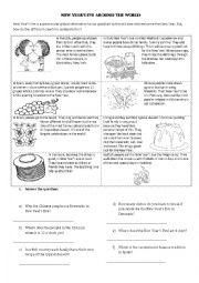 English Worksheet: New Year�s Eve around the world. Reading and writing