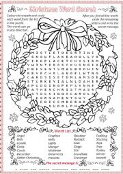 English Worksheet: Wreath word search