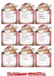 English Worksheet: *** Christmas speaking- talking about traditions *** 1