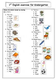 English Worksheet: the first english test  for kindergarten student