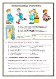 English Worksheet: Expressing purpose.