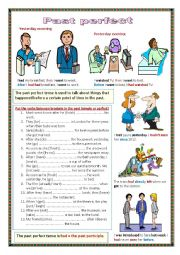 English Worksheet: The past perfect tense