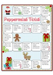 English Worksheet: Peppermint Twist Tongue Twister Boardgame and Memory Cards