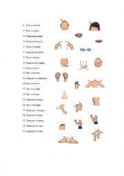 English Worksheet: Body parts matching