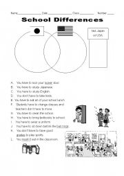 English Worksheet: Difference between school in USA and Japan