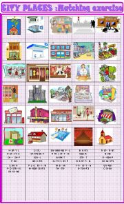 English Worksheet: City places: matching exercise and missing vowels