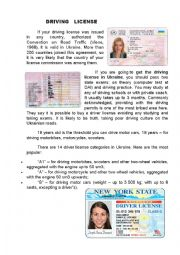 English Worksheet: driving license