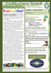 English Worksheet: Voluntary Work:(End of Term3Test 9th form) 3 parts: Reading Comprehension+language+Writing+Key.
