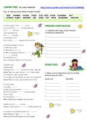English Worksheet: LEMON TREE BY FOOLS GARDEN