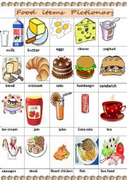 English Worksheet: food items pictionary