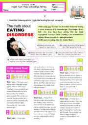 The truth about eating disorders - reading & writing test for 9 graders (B1-pre-intermediate)