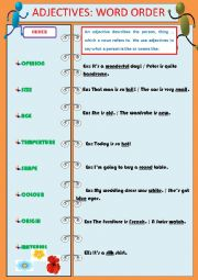 English Worksheet: ADJECTIVES - WORD ORDER