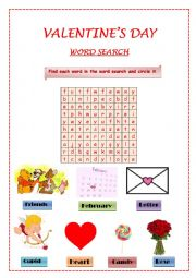 English Worksheet: Find each word in the word search and circle it.