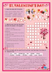 Valentine vocabulary word quiz