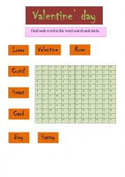 English Worksheet: Find each word in the word search and circle.