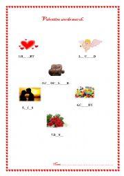 English Worksheet: Valentine words search