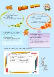 English Worksheet:  a little/ little/ a few/ few