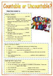 English Worksheet: MUCH or MANY, LITTLE or FEW (+ key)