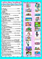 English Worksheet: Present Simple: affirmative