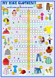 Clothes and accessories, crossword puzzle