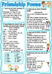 English Worksheet: Friendship Poems