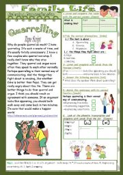 English Worksheet: Family Life(Mid Term 1Test 9th form) 2parts: Listening+Link+Language+Key