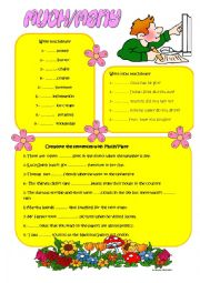 English Worksheet: QUANTITY:MUCH, MANY