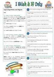 English Worksheet: I wish & If only