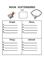 English Worksheet: Noun Scattergories