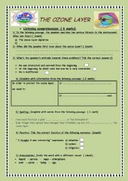 English Worksheet: The ozone layer ( Listening comprehension)